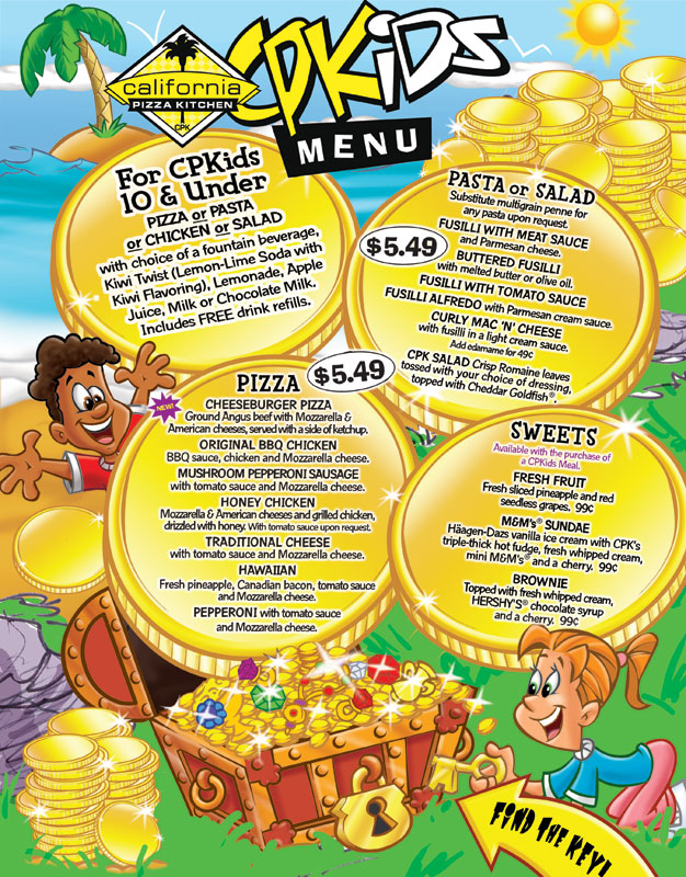 superb California Pizza Kitchen Kids Menu #2: Kids Treasure Hunt restaurant menu for California Pizza Kitchen