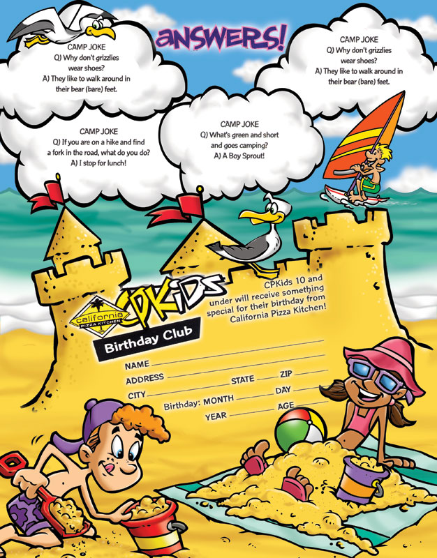 good California Pizza Kitchen Kids Menu #5: Illustrations Beach themed kidu0026#39;s restaurant menu for California Pizza Kitchen