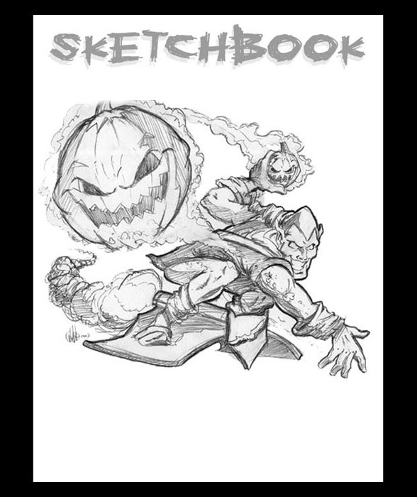 <h3> Sketchbook Page</h3>  Sketch of Spider-Man's arch enemy, The Green Goblin