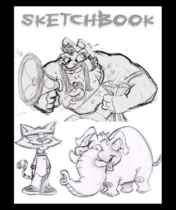 <h3> Sketchbook Page</h3>  A few character design sketches from different assignments of a crazy sports fan, a cool cat and a goofy elephant