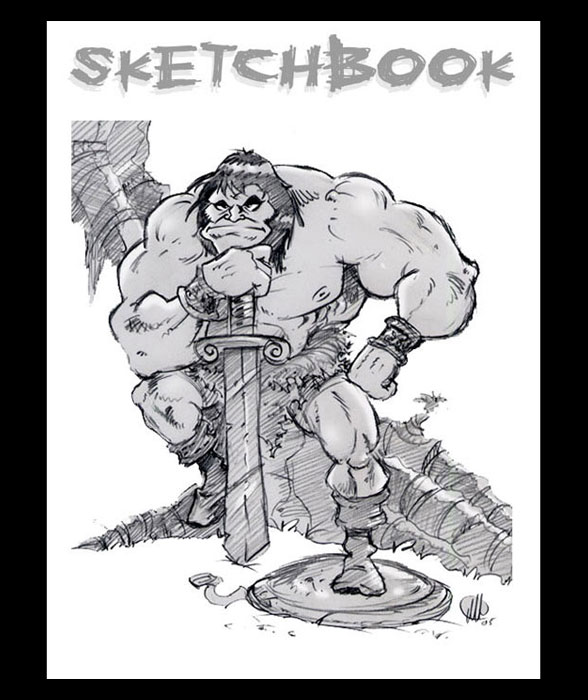 <h3> Sketchbook Page </h3>  Here is a cartoon sketch of Conan the Barbarian based on an awesome drawing by my favorite comic book artist of all-time, the Michelangelo of comics, Big John Buscema
