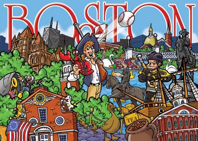 Boston Puzzle Cartoon Illustration
